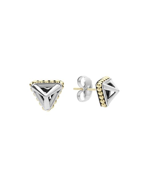 Lagos | Metallic 18k Gold And Sterling Silver Pyramid Stud Earrings | Lyst