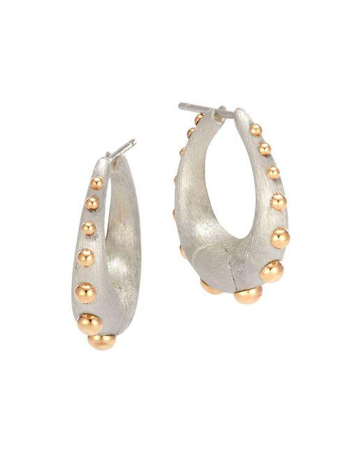John Hardy | Metallic 18k Yellow Gold And Sterling Silver Dot Medium Hoop Earrings | Lyst
