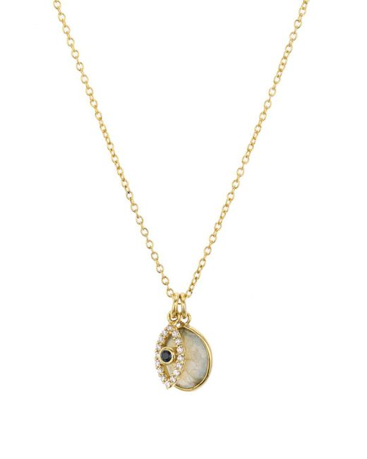 Aqua Metallic Evil Eye Charm & Stone Pendant Necklace In 18k Gold - Plated Sterling Silver