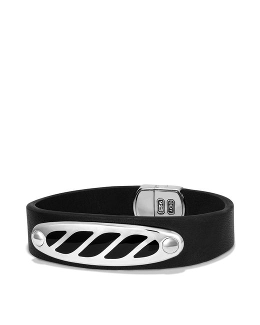 David Yurman | Graphic Cable Leather Id Bracelet In Black With Black Onyx for Men | Lyst