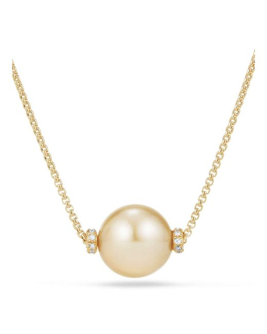 David Yurman | Metallic Solari Single Station Necklace In 18k Gold With Diamonds And South Sea Yellow Cultured Pearl | Lyst