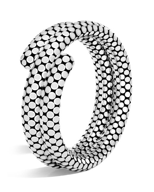 John Hardy   Sterling Silver Dot Double Coil Bracelet In White   Lyst