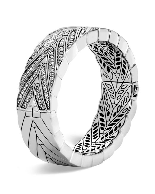 John Hardy   Metallic Sterling Silver Modern Chain Large Hinged Bangle With Diamonds   Lyst