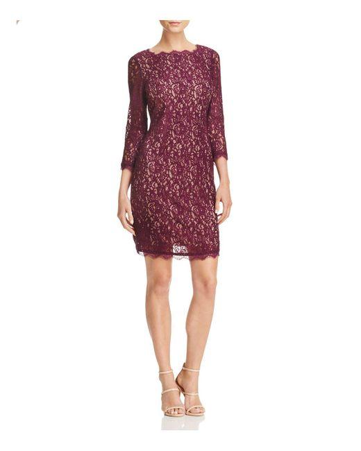 Adrianna Papell | Purple Illusion Sleeve Lace Dress | Lyst