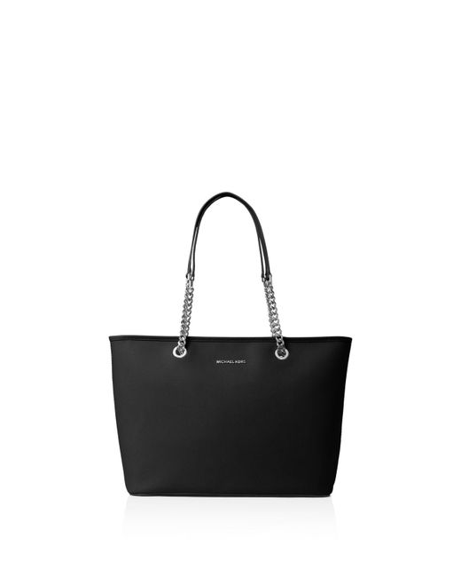 MICHAEL Michael Kors | Black Jet Set Travel Chain Medium Saffiano Leather Tote | Lyst