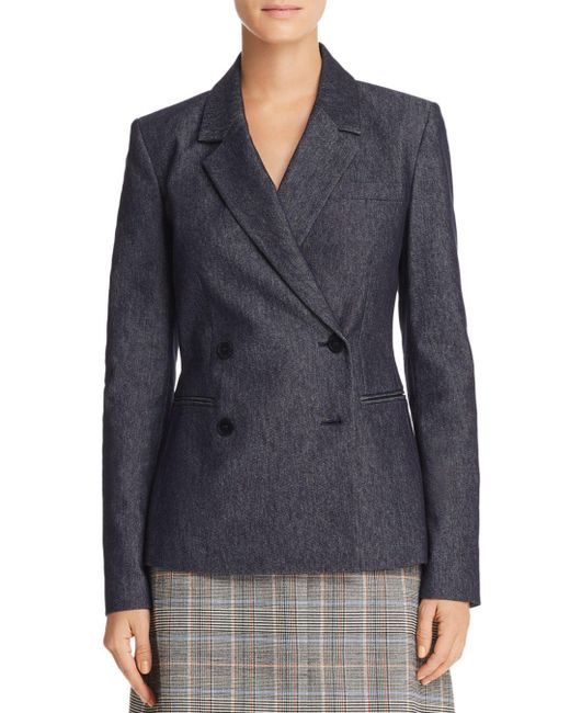Theory - Blue Double Breasted Blazer - Lyst