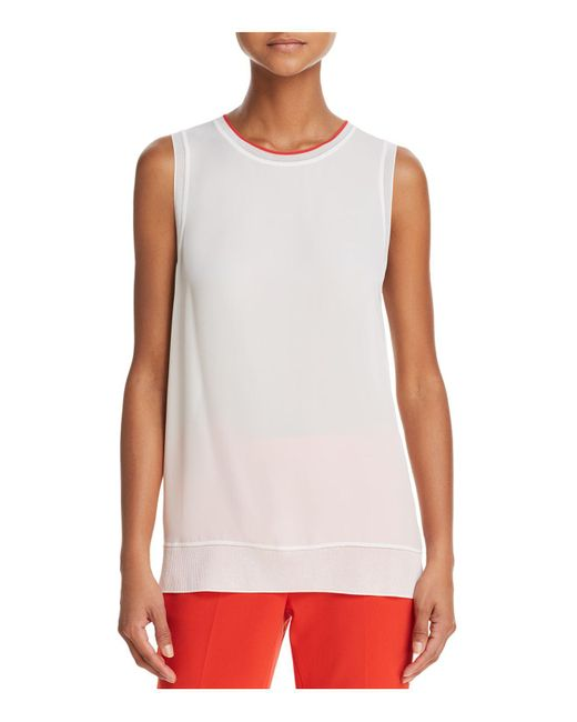 Lyst Theory Lewie Silk Tank In White