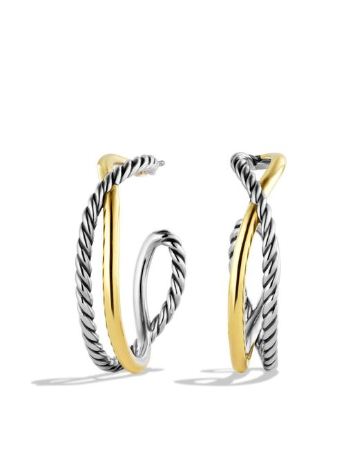 David Yurman   Metallic Crossover Hoop Earrings With Gold   Lyst