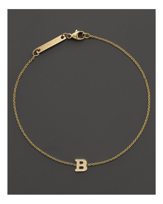 Zoe Chicco - 14k Yellow Gold Initial Bracelet - Lyst