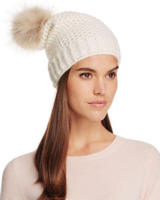 Inverni - Brown Fur Pom-pom Slouchy Beanie - Lyst