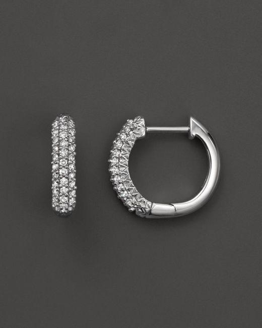 Bloomingdale's - Diamond Hoop Earrings In 14k White Gold, .20 Ct. T.w. - Lyst