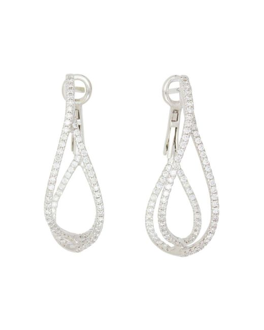 Frederic Sage - 18k White Gold Diamond Crossover Loop Earrings - Lyst
