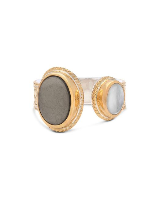 Anna Beck - Metallic Mother Of Pearl & Smoky Pyrite Cocktail Ring In 18k Gold - Plated Sterling Silver - Lyst