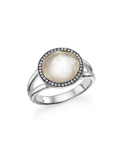 Ippolita - Metallic Sterling Silver Stella Ring In Mother - Of - Pearl With Diamonds - Lyst
