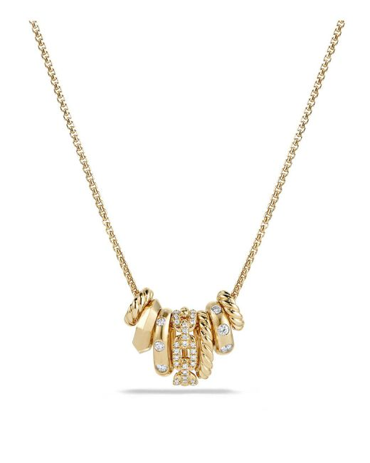 David Yurman | Metallic Stax Rondelle Pendant Necklace With Diamonds In 18k Gold | Lyst