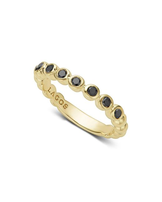 Lagos - Metallic Black Diamond Caviar Stacking Ring - Lyst