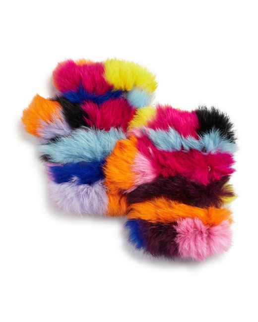 Jocelyn - Multicolor Knit Rabbit Fur Fingerless Gloves - Lyst