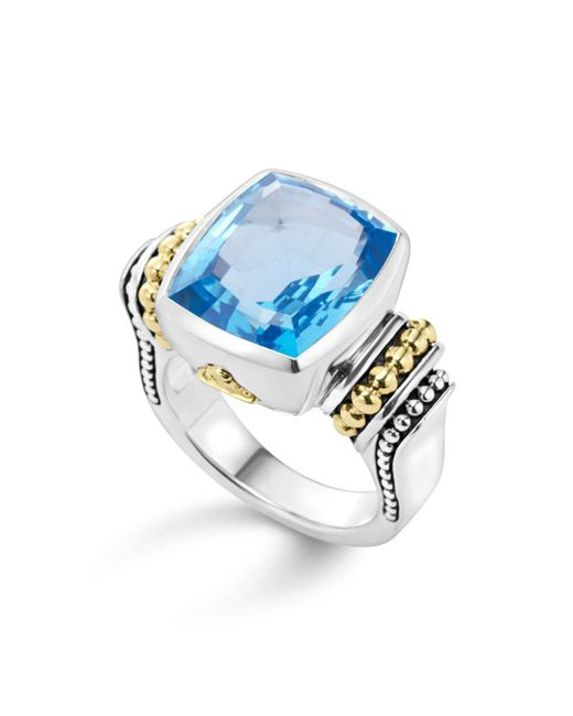 Lagos - 18k Gold And Sterling Silver Caviar Color Medium Ring With Swiss Blue Topaz - Lyst