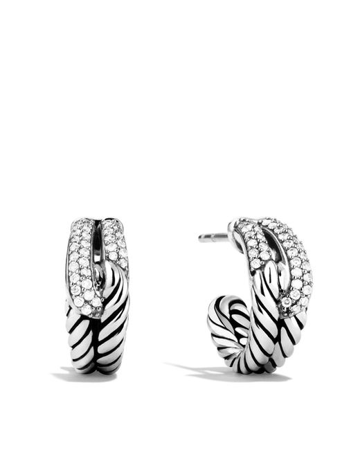 David Yurman - Metallic Labyrinth Single-loop Earrings With Diamonds - Lyst