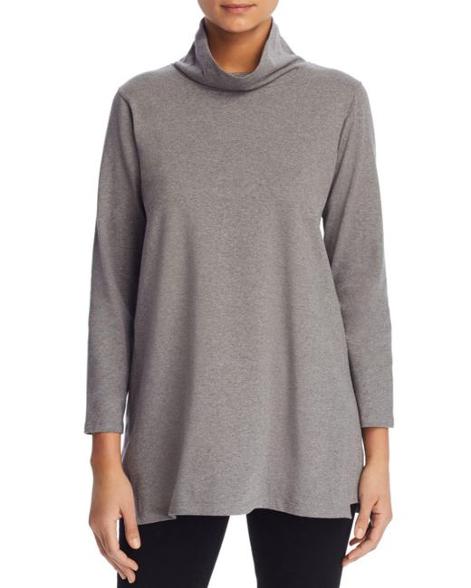 Eileen Fisher - Gray Funnel Neck Tunic Top - Lyst