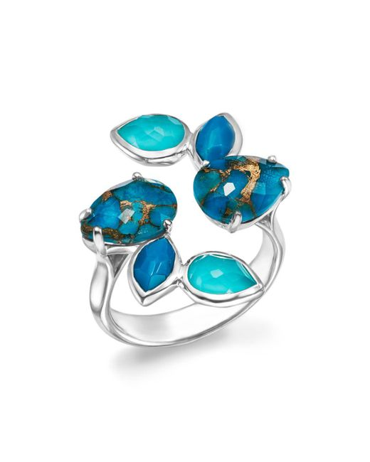 Ippolita - Metallic Sterling Silver Rock Candy® Mixed Turquoise And Doublet Bypass Ring - Lyst