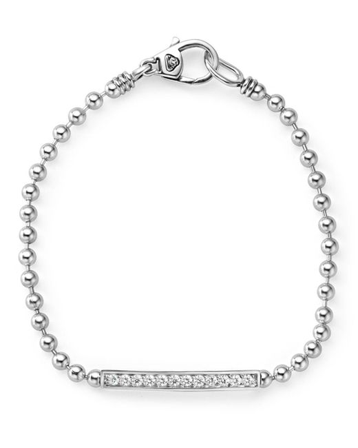 Lagos - Metallic Sterling Silver Caviar Spark Diamond Bar Chain Bracelet - Lyst
