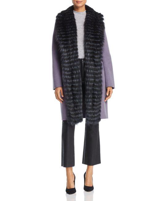 Maximilian - Purple Fox Fur Tuxedo Trim Wool Coat - Lyst