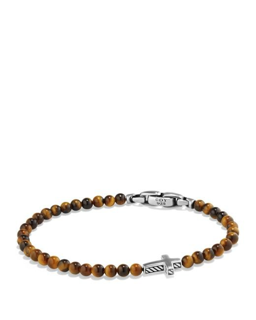 David Yurman - Metallic Spiritual Beads Cross Bracelet With Tiger's Eye In Sterling Silver for Men - Lyst