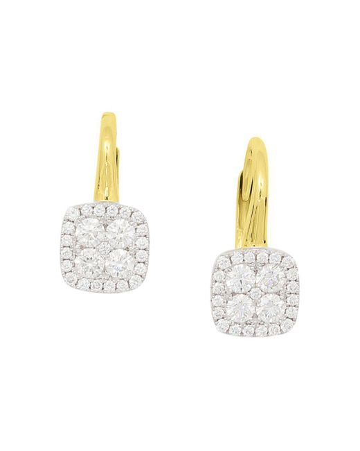 Frederic Sage - Multicolor 18k White & Yellow Gold Firenze Pavé Diamond Cushion Earrings - Lyst