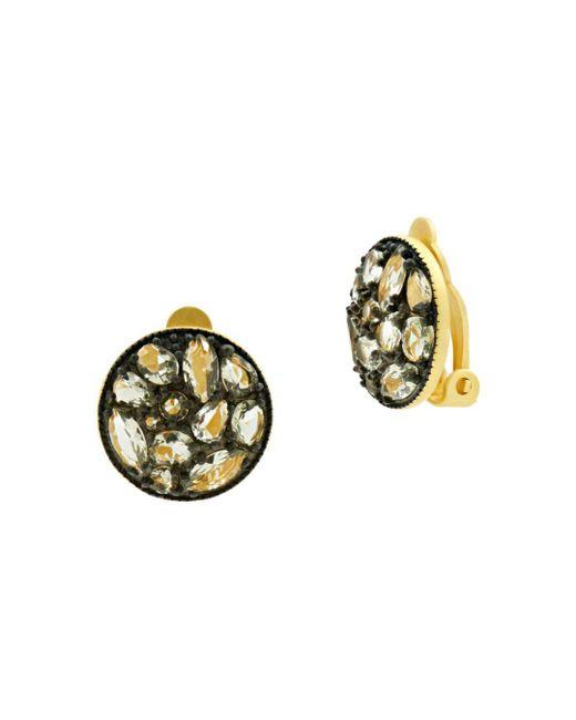 Freida Rothman - Multicolor Rose D'or Pavé Cluster Clip-on Earrings - Lyst