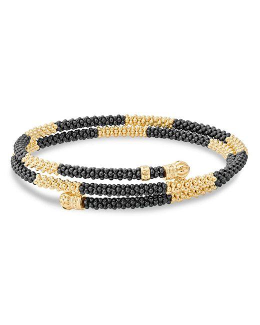 Lagos - Metallic Gold & Black Caviar Collection 18k Gold & Ceramic Coil Bracelet - Lyst