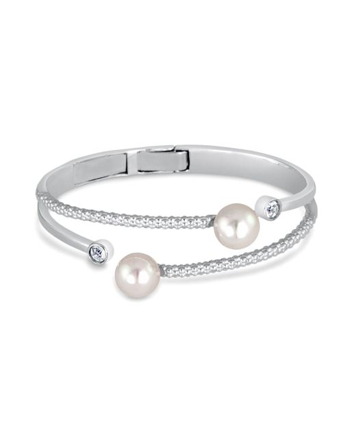 Majorica | Metallic Simulated Pearl Textured Bangle | Lyst