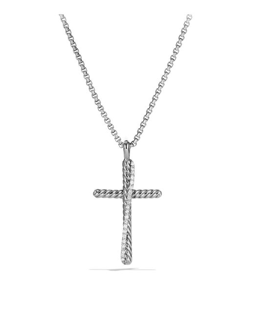 David Yurman | Metallic Crossover Cross With Diamonds On Chain | Lyst