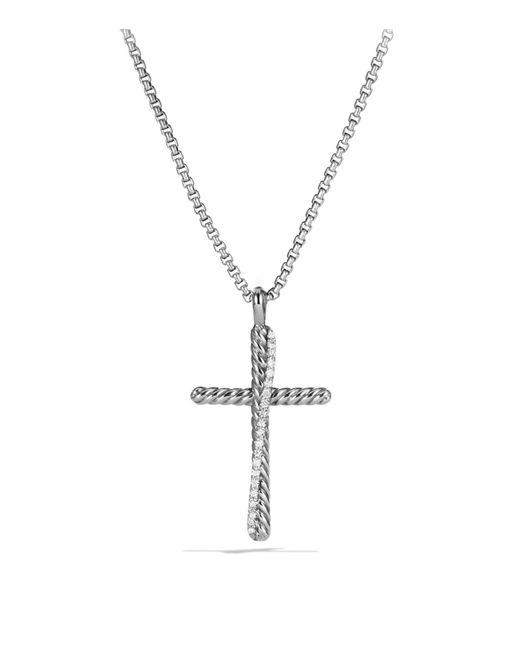 David Yurman - Metallic Crossover Cross With Diamonds On Chain - Lyst