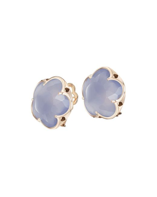 Pasquale Bruni | Blue 18k Rose Gold Chalcedony Floral Stud Earrings | Lyst