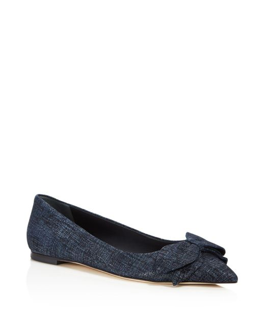 Tory Burch - Blue Women's Rosalind Printed Suede Pointed Toe Flats - Lyst