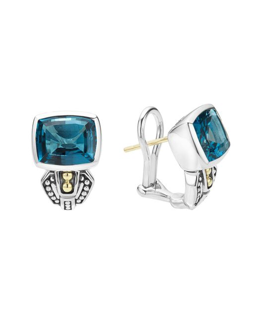 Lagos | 18k Gold And Sterling Silver Caviar Color Huggie Earrings With London Blue Topaz | Lyst