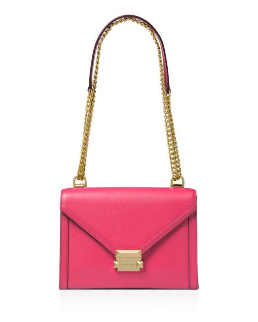 MICHAEL Michael Kors - Pink Whitney Large Leather Shoulder Bag - Lyst