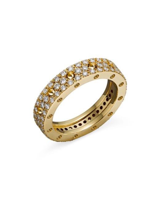 Roberto Coin - Metallic 18k Yellow Gold Pois Moi Diamond Pavé Ring - Lyst