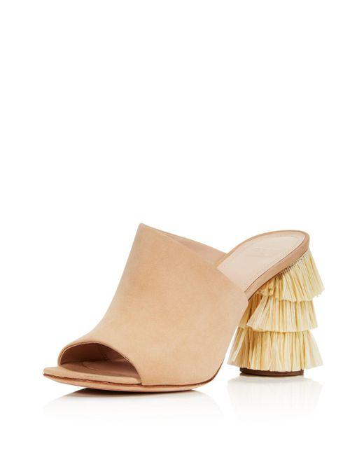 Pour La Victoire - Natural Women's Hettie Nubuck Leather & Raffia High Heel Slide Sandals - Lyst