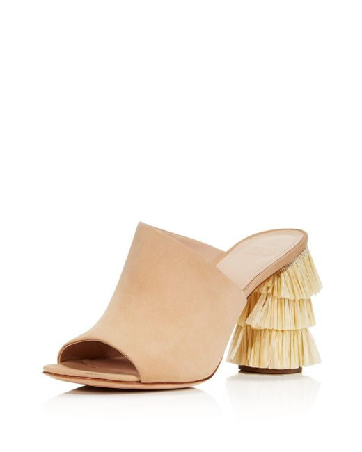 Pour La Victoire - Natural Women's Hettie Nubuck Leather & Raffia High-heel Slide Sandals - Lyst