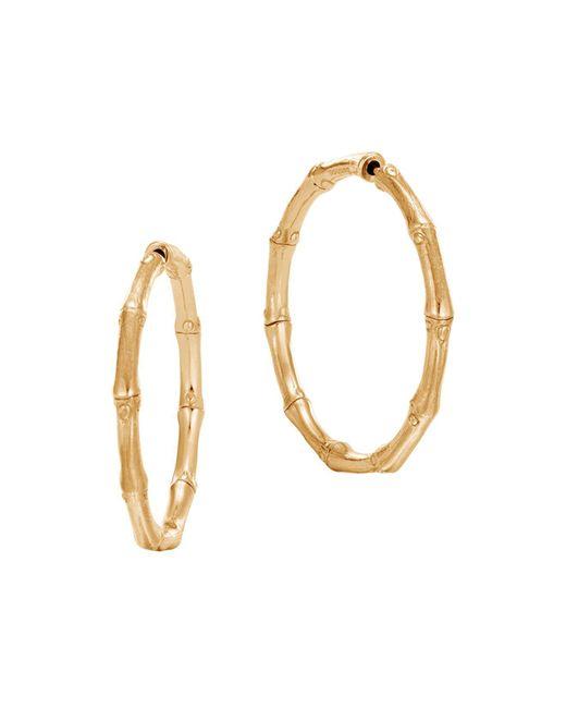 John Hardy | Metallic 18k Yellow Gold Bamboo Medium Hoop Earrings | Lyst