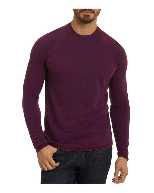 Robert Graham - Purple Ray Brook Crewneck Sweater for Men - Lyst