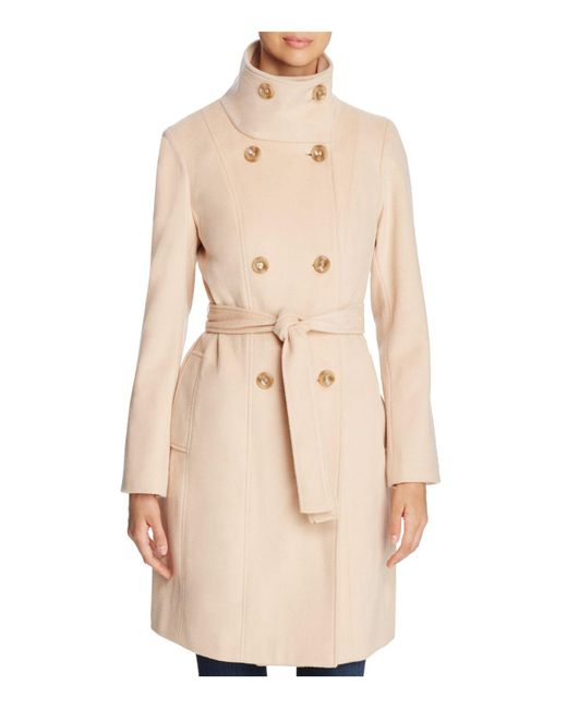 Calvin Klein | Natural Funnel Neck Double-breasted Button Front Coat | Lyst