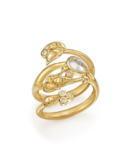 Temple St. Clair | Metallic 18k Yellow Gold Royal Blue Moonstone And Diamond Leaf Ring | Lyst
