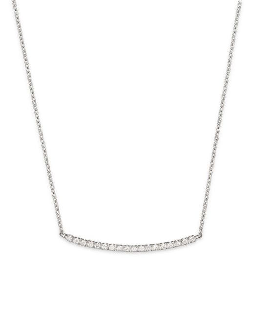 Meira T - 14k White Gold And Diamond Bar Necklace - Lyst