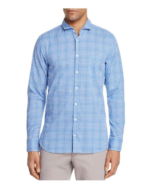 BOSS Orange | Blue Gingham Slim Fit Button-down Shirt for Men | Lyst
