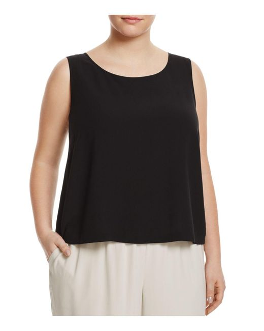 Eileen Fisher - Black System Silk Cropped Shell - Lyst