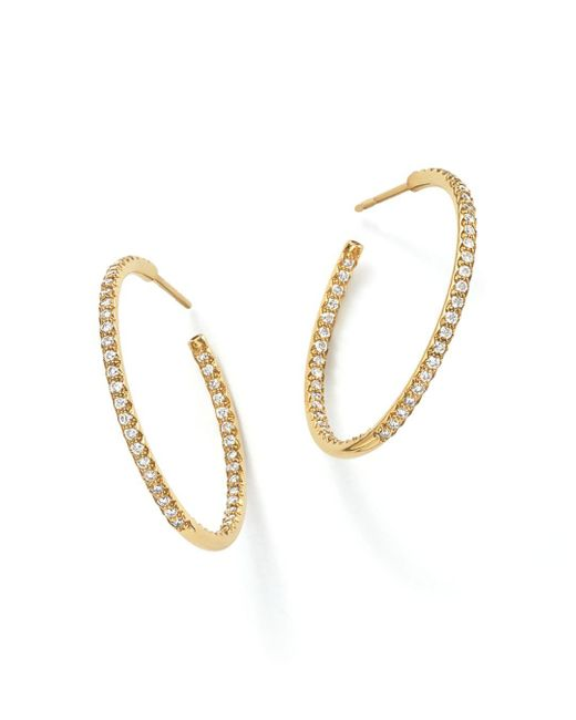 Roberto Coin - Metallic 18k Yellow Gold Micropave Inside - Out Diamond Hoop Earrings - Lyst