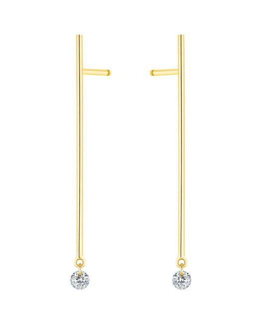 La Brune Et La Blonde   Metallic 18k Yellow Gold Small Majorette Diamond Stick Drop Earrings   Lyst